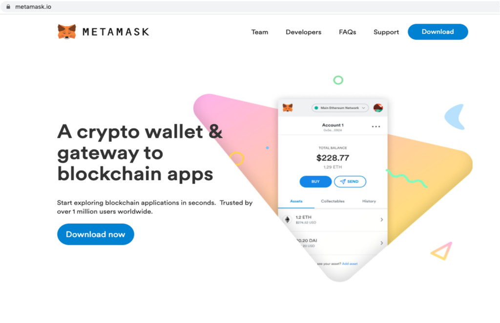 Legitimate MetaMask website