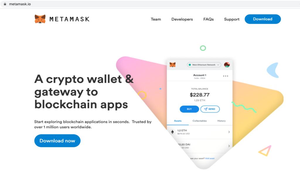 Legitimate MetaMask website